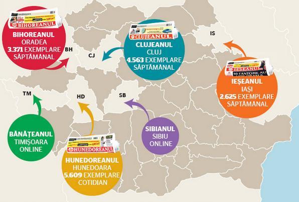Harta ziarelor MediaPRO, amenintate cu inchiderea / Infografic: Silviu Constantinescu - www.adevarul.ro